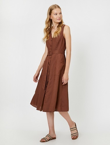 Koton Düğme Detaylı Elbise Kahve